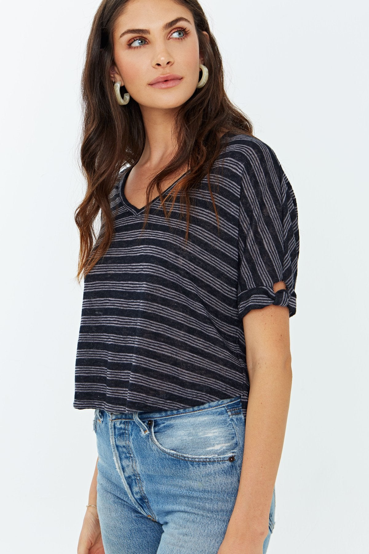 PROJECT SOCIAL T Fenton Striped Knot Tee