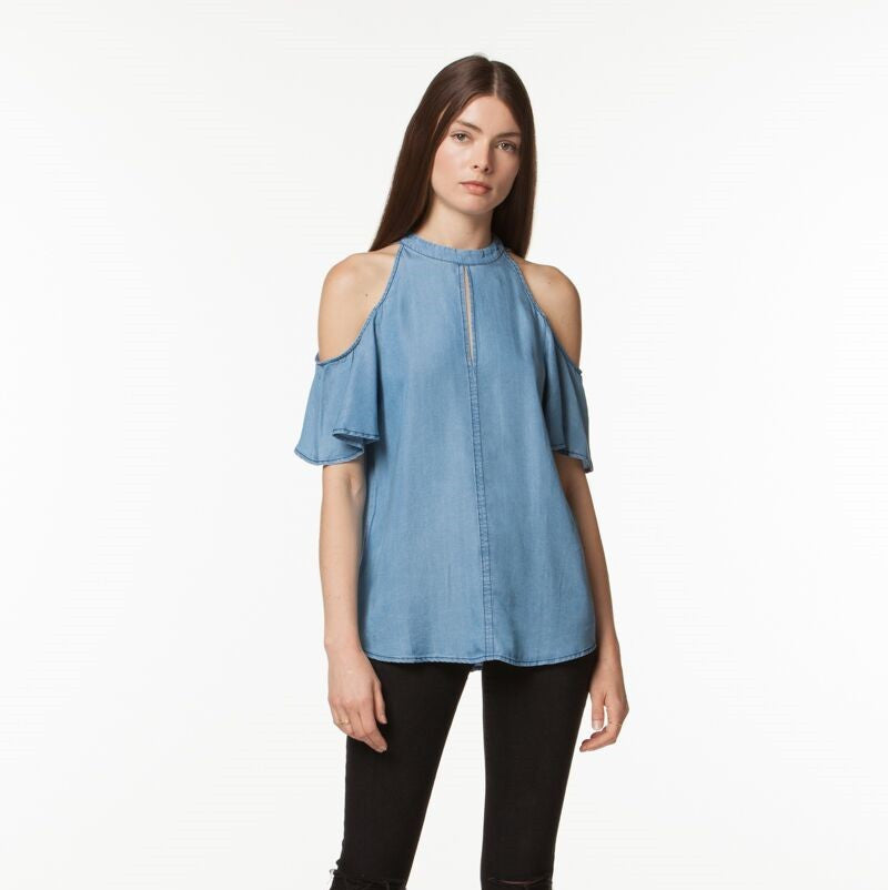 Moira Cold Shoulder Top- Blue