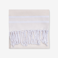 Herringbone Bath Towel in Beige & White