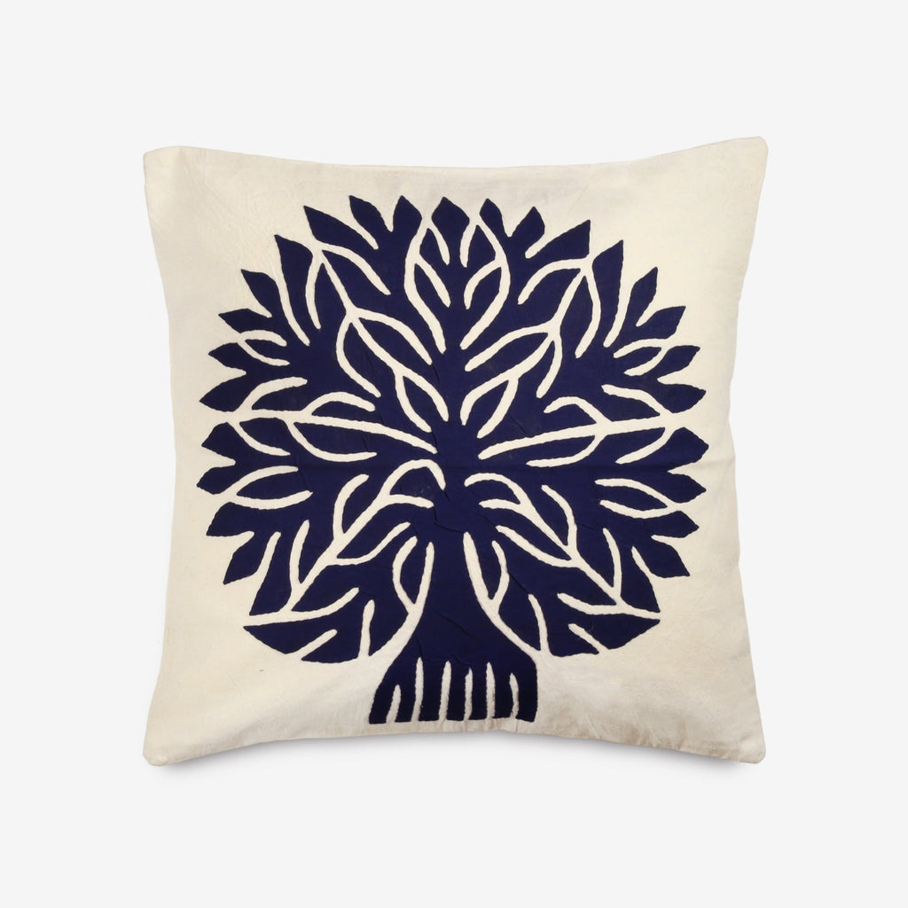 Tree of Life Pillow in Navy & White