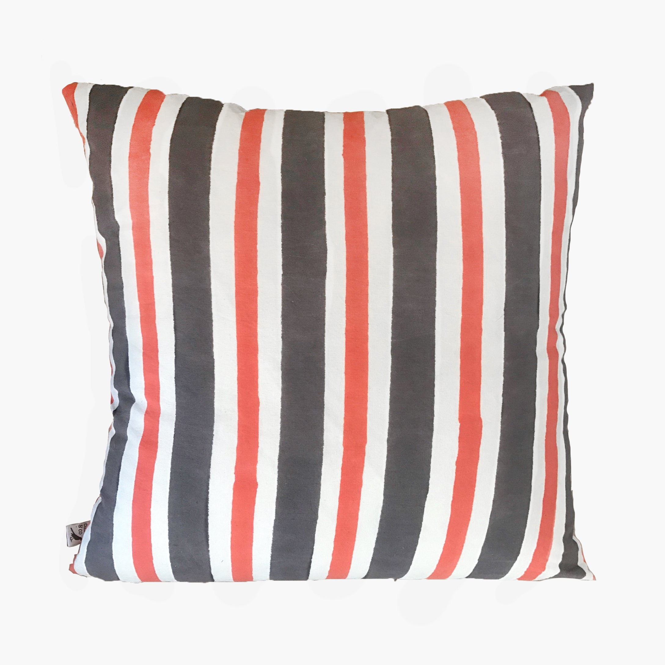 Chango & Co Grey and Orange Stripe Pilow