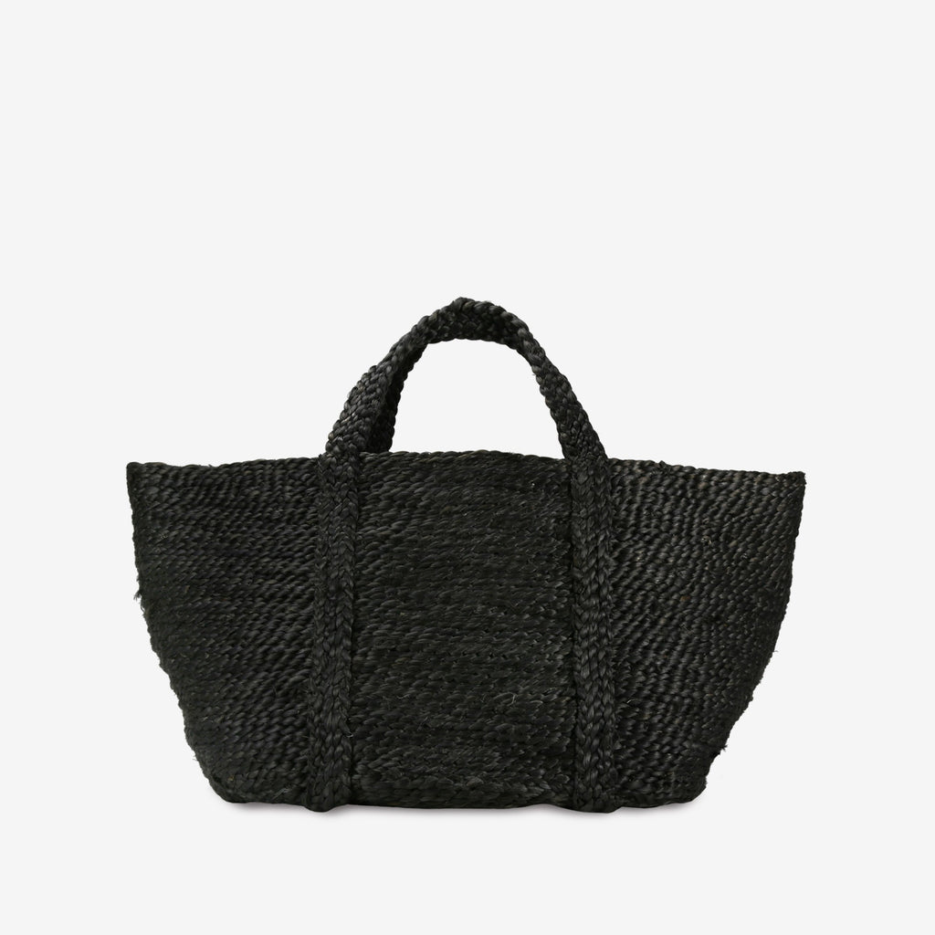 Round Jute Basket with Handles in Charcoal