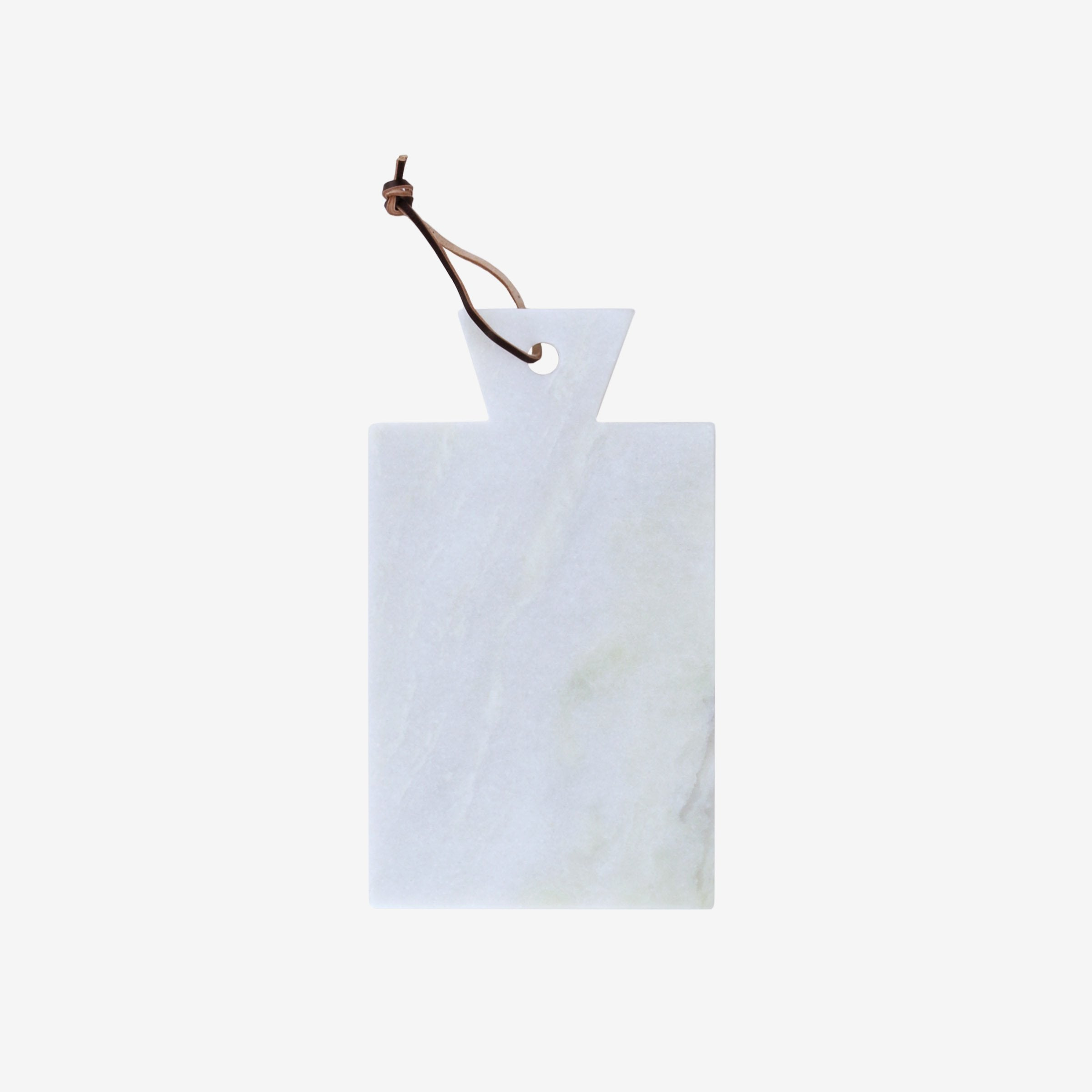 White Marble Cutting Board with Leather Strap
