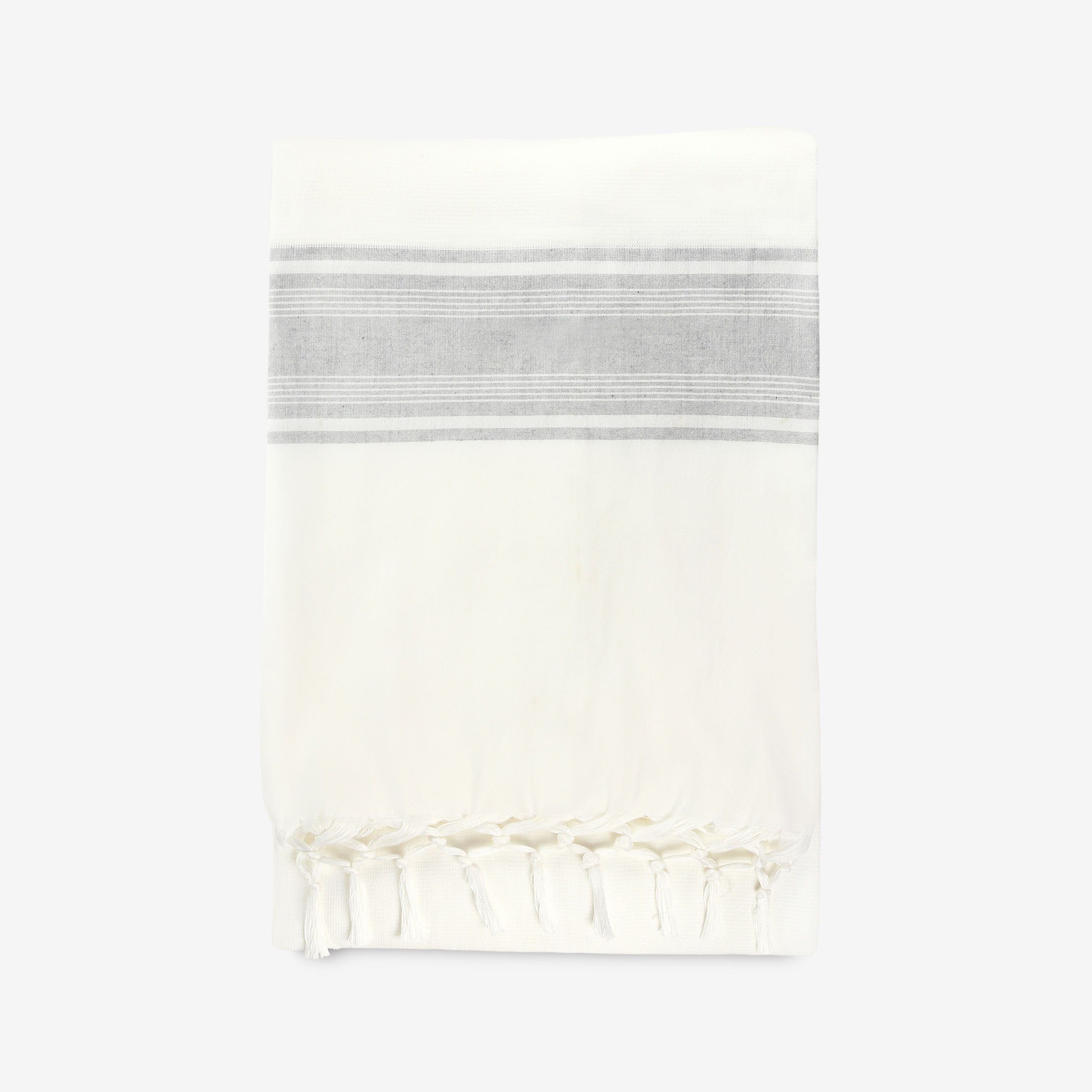 Striped Summer Throw in White & Grey