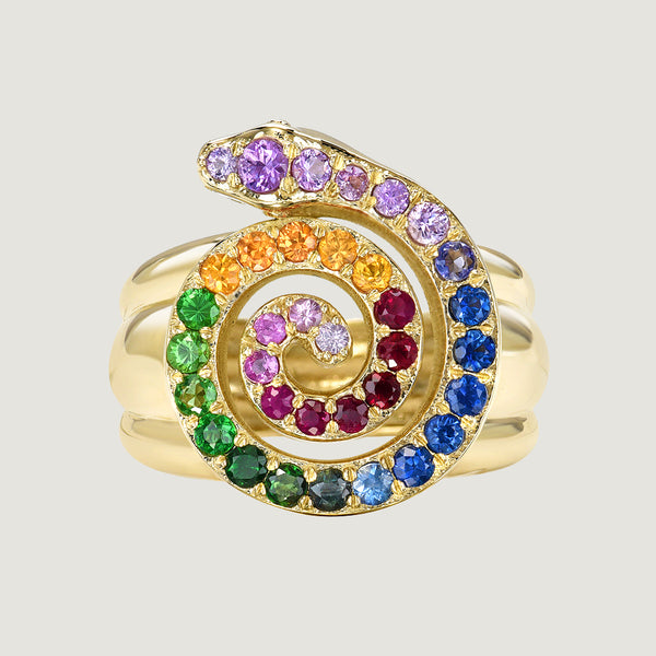 RAINBOW COSMIC SERPENT RING