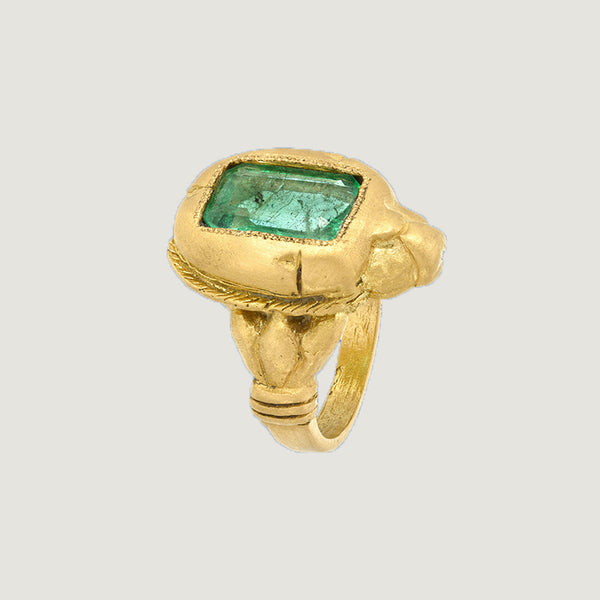 EMERALD SCARAB RING