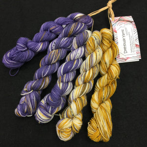 DyeHouse Yarns Big Sock Purple to Gold mini shift kit
