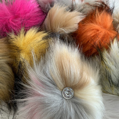 Extra Large Faux Fur Pom Poms with Snap