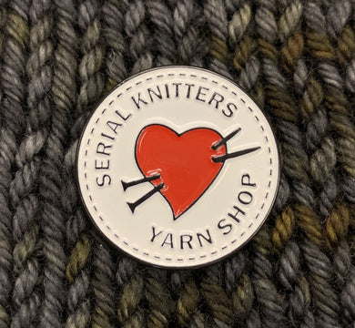 Serial Knitters enamel pin
