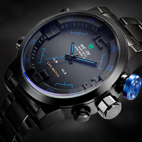 Top Luxury Brand Men Full Steel Watches Men's Quartz Analog Digital LED Clock Man Fashion Sports Army Military Wrist Watch