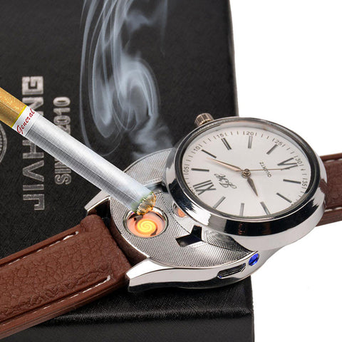 Men Luxury Cigarette Rechargeable USB Flameless Lighter Watch - Eshopping Cart - 1