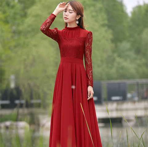 New 2016 Spring Autumn Elegant Vintage Lace Chiffon Long Dress Slim Long Sleeve Wine Red Party Maxi Dresses Vestidos D036 - Eshopping Cart - 2