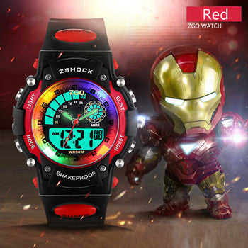Children Watch 50M Waterproof LED Digital Wristwatch Alarm Shock Resistant Back Light Boys Sport Watch Kids Gift 2016 New design - Eshopping Cart - 2