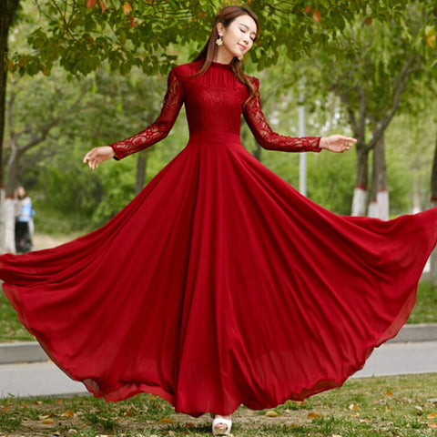 New 2016 Spring Autumn Elegant Vintage Lace Chiffon Long Dress Slim Long Sleeve Wine Red Party Maxi Dresses Vestidos D036 - Eshopping Cart - 1