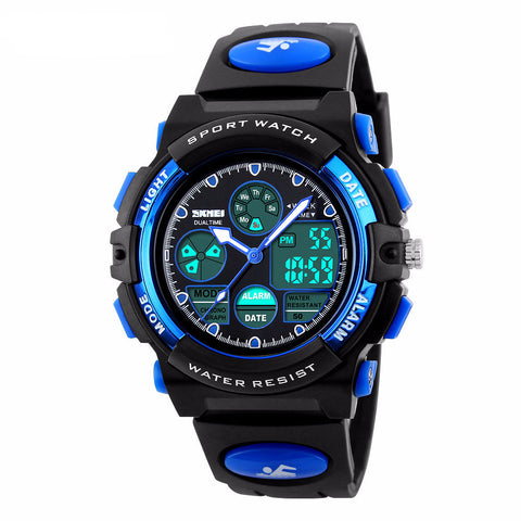 Fashion Sport Military Children's Dual Time LED Digital Quartz Waterproof Wristwatches - Eshopping Cart - 1
