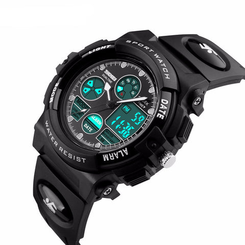 Fashion Sport Military Children's Dual Time LED Digital Quartz Waterproof Wristwatches - Eshopping Cart - 2