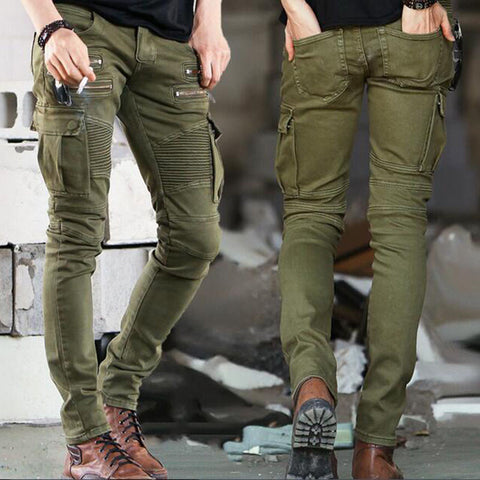 Men's Casual Solid Color Biker Jeans Army  Style