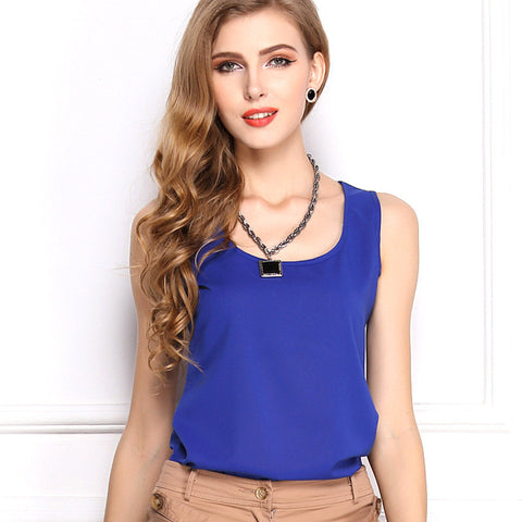 Candy Colors New Fashion O Neck Sleeveless Simple Style Casual Chiffon T Shirt