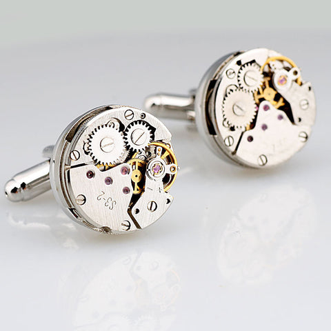 New arrival French style high quality stainless steel mental crystal man shirt gear watch movement mechanism cuff links