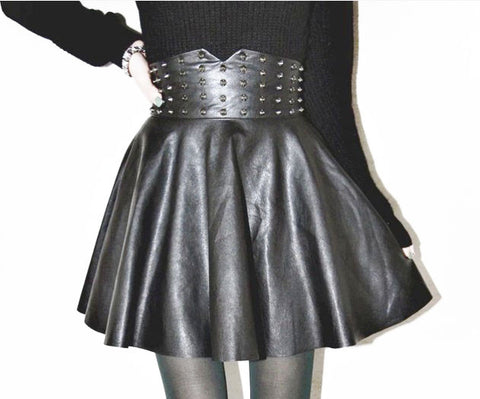 Fashion New High Waist Faux Leather Skirt for Women