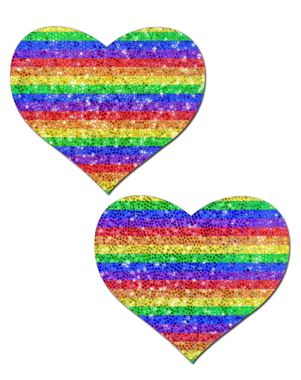 Glitter Double Rainbow Heart Pasties