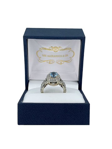 18k white gold cremation ring with 5mm aquamarine and hearts and arrows diamonds for ashes