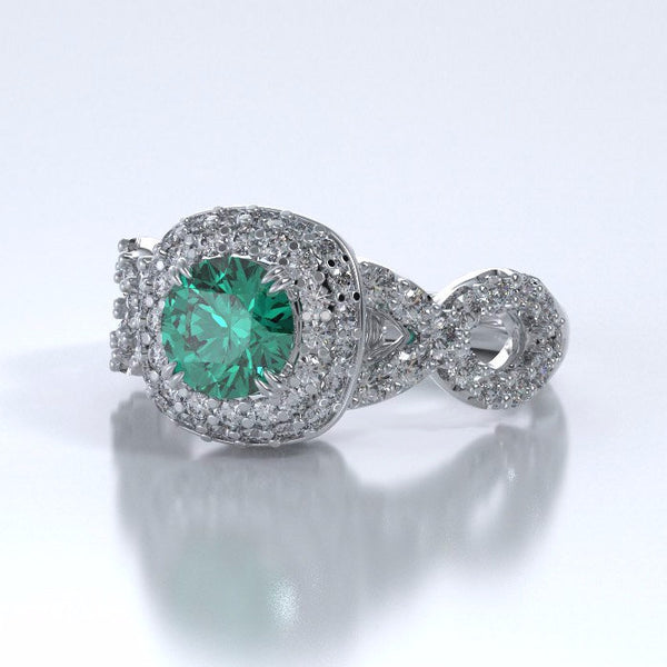 Memorial Jewelry - Diamants Entourant Ring in Platinum with Emerald and Diamonds - Side