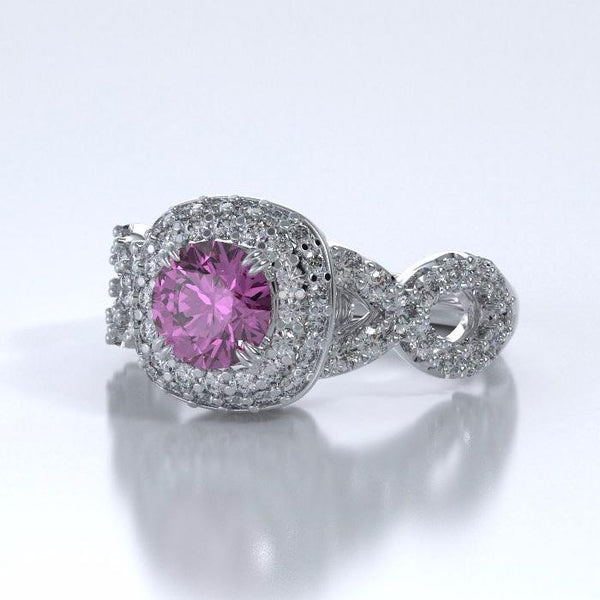 Memorial Jewelry - Diamants Entourant Ring in Platinum with Pink Sapphire and Diamonds - Side