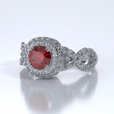 Memorial Jewelry - Diamants Entourant Ring in Platinum with Ruby and Diamonds - Side
