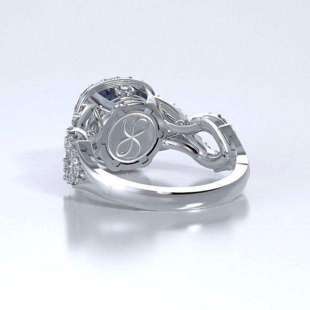 Memorial Jewelry - Diamants Entourant Ring in Platinum with Blue Sapphire and Diamonds - Back