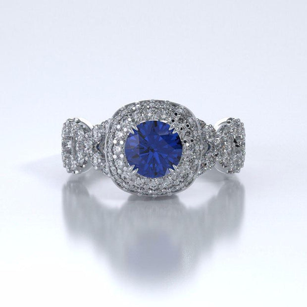 Memorial Jewelry - Diamants Entourant Ring in Platinum with Blue Sapphire and Diamonds - Front