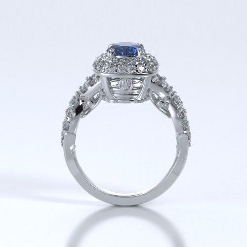 Memorial Jewelry - Diamants Entourant Ring in Platinum with Blue Sapphire and Diamonds - Profile