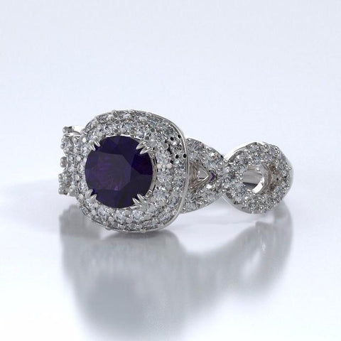 Memorial Jewelry - Diamants Entourant Ring in 18k White Gold with Amethyst and Diamonds - Side