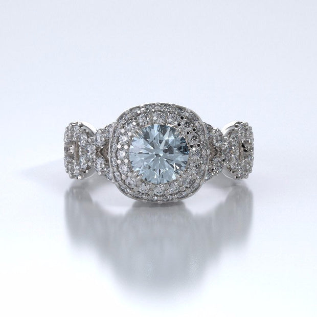 Memorial Jewelry - Diamants Entourant Ring in 18k White Gold with Aquamarine and Diamonds - Front