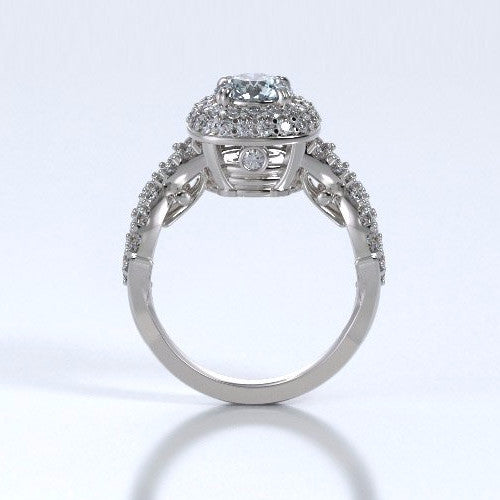 Memorial Jewelry - Diamants Entourant Ring in 18k White Gold with Aquamarine and Diamonds - Profile