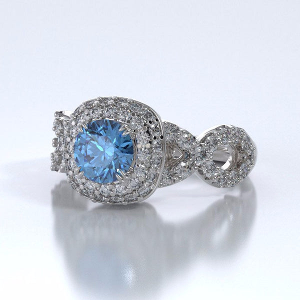Memorial Jewelry - Diamants Entourant Ring in 18k White Gold with Blue Topaz and Diamonds - Side