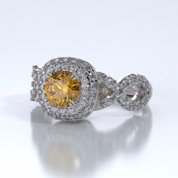 Memorial Jewelry - Diamants Entourant Ring in 18k White Gold with Citrine and Diamonds - Side
