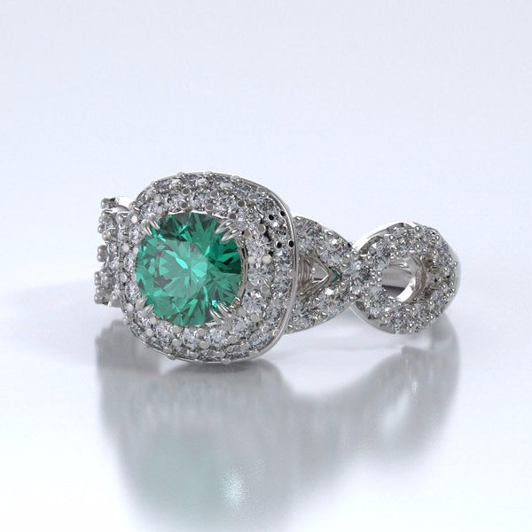 Memorial Jewelry - Diamants Entourant Ring in 18k White Gold with Emerald and Diamonds - Side