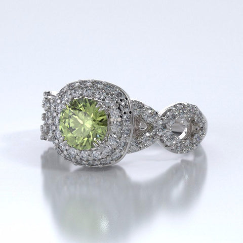 Diamants Entourant Ring in 18k White Gold with Peridot and Diamonds