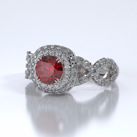 Diamants Entourant Cremation Ring in 18k White Gold with Ruby and Diamonds