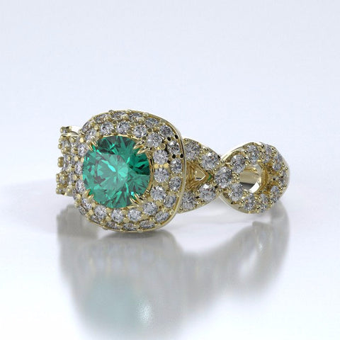Memorial Jewelry - Diamants Entourant Ring in 18k Yellow Gold with Emerald and Diamonds - Side