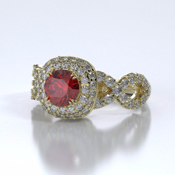 Memorial Jewelry - Diamants Entourant Ring in 18k Yellow Gold with Ruby and Diamonds - Side