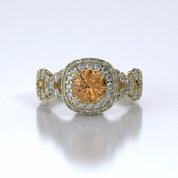 Memorial Jewelry - Diamants Entourant Ring in 18k Yellow Gold with Citrine and Diamonds - Front