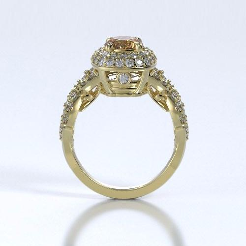 Memorial Jewelry - Diamants Entourant Ring in 18k Yellow Gold with Citrine and Diamonds - Profile