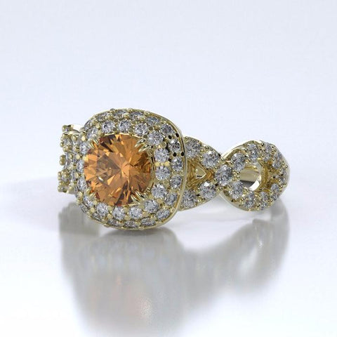 Memorial Jewelry - Diamants Entourant Ring in 18k Yellow Gold with Citrine and Diamonds - Side