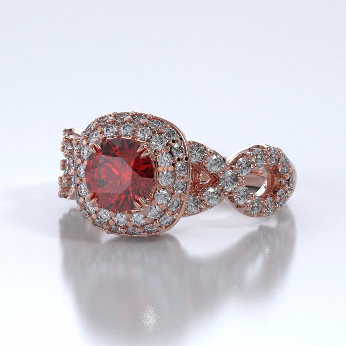 Memorial Jewelry - Diamants Entourant Ring in 18k Rose Gold with Ruby and Diamonds - Side
