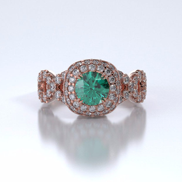 Memorial Jewelry - Diamants Entourant Ring in 18k Rose Gold with Emerald and Diamonds - Front
