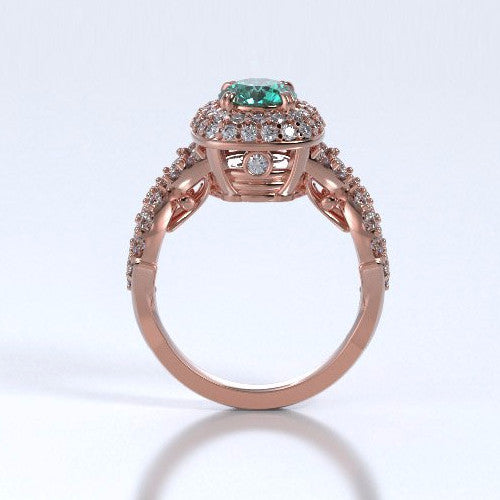 Memorial Jewelry - Diamants Entourant Ring in 18k Rose Gold with Emerald and Diamonds - Profile