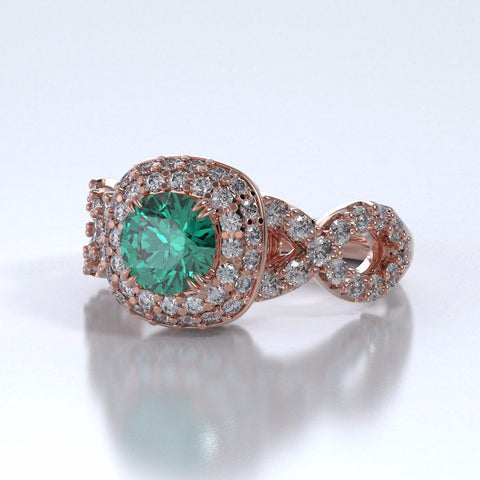 Memorial Jewelry - Diamants Entourant Ring in 18k Rose Gold with Emerald and Diamonds - Side