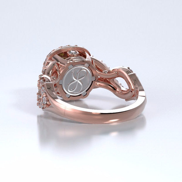 Memorial Jewelry - Diamants Entourant Ring in 18k Rose Gold with Peridot and Diamonds - Back